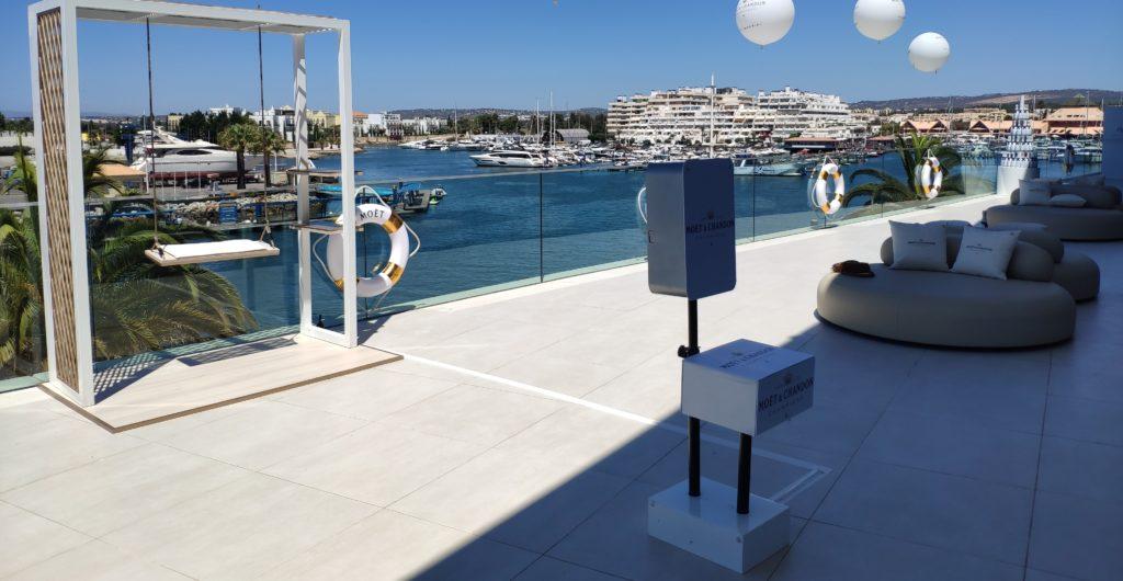 Photo booth ao ar livre na marina